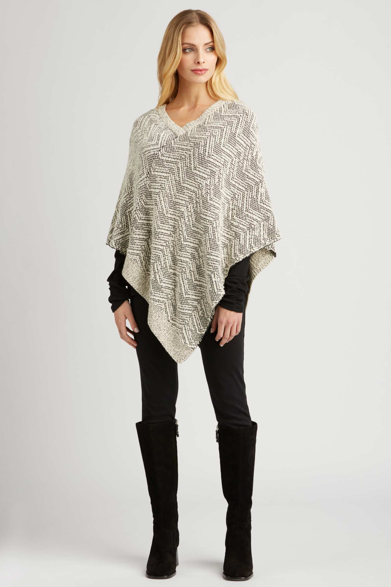 Womens Knit Poncho in Organic Cotton | Ivory Black