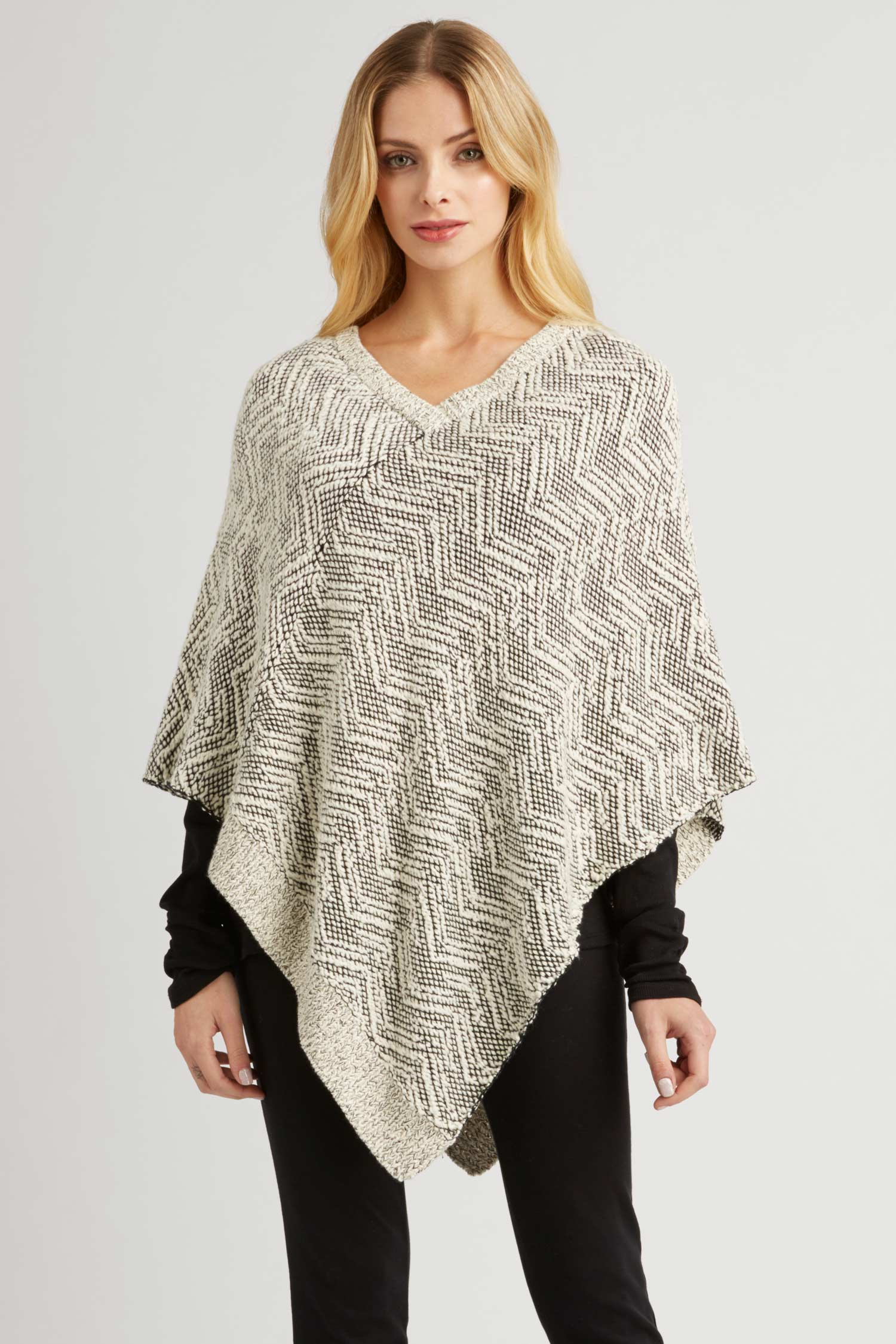 Womens Knit Poncho in Organic Cotton | Fair Trade