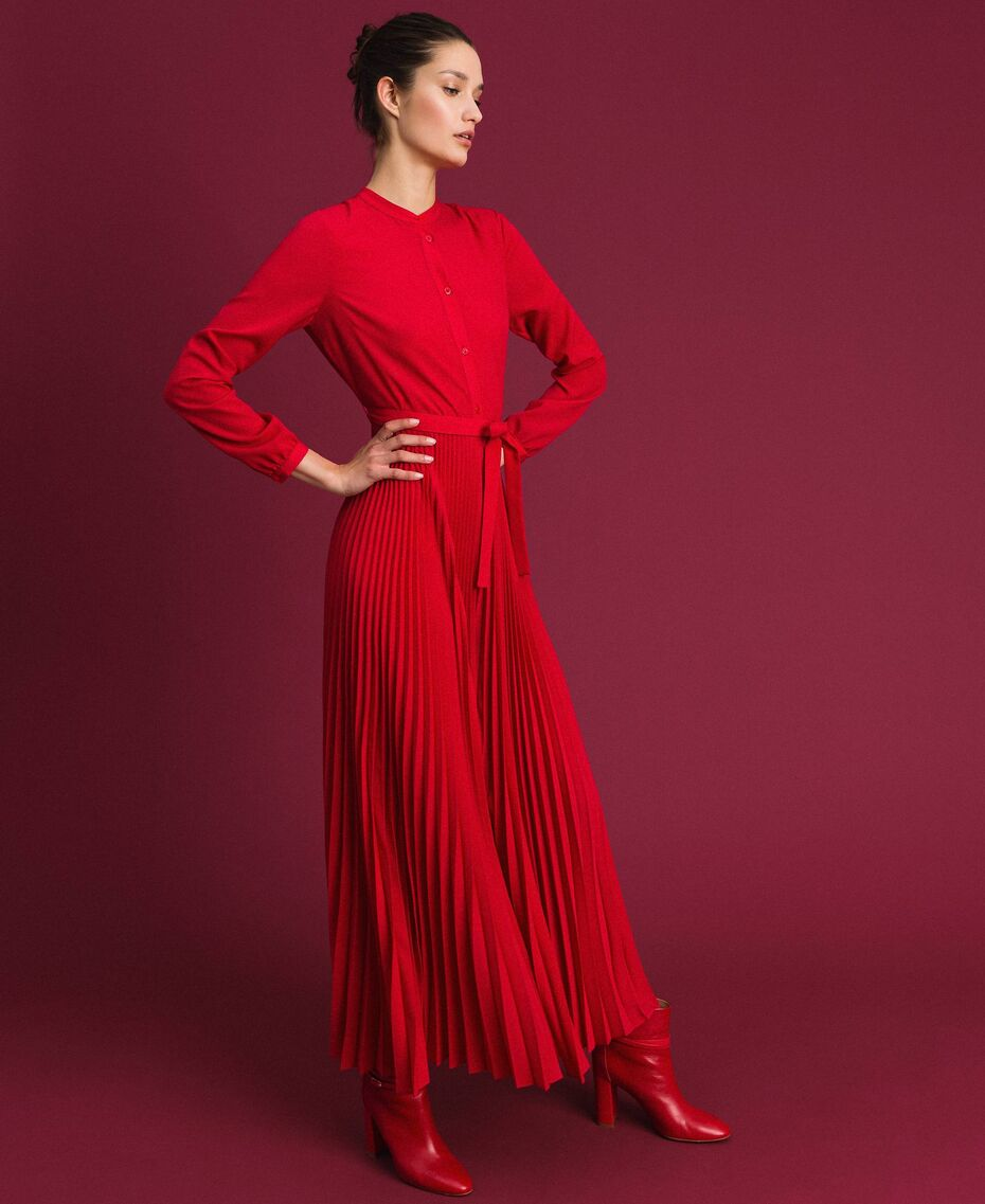 TWIN SET - Pleated Chine Jumpsuit 'Rosso'