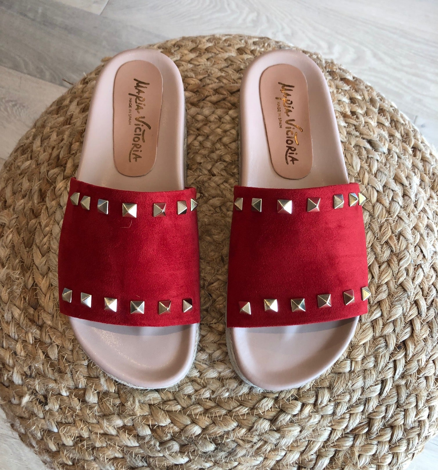 MARIA VICTORIA - Suede Slide RED
