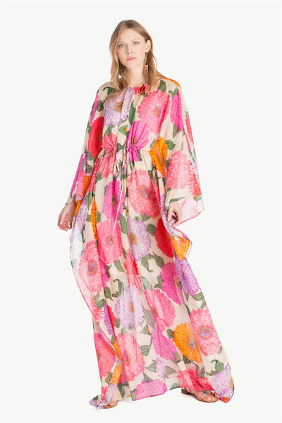 TWINSET - Macro Peony Cotton Long Sleeve Dress