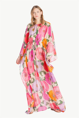TWIN SET - Macro Peony Cotton Long Sleeve Dress