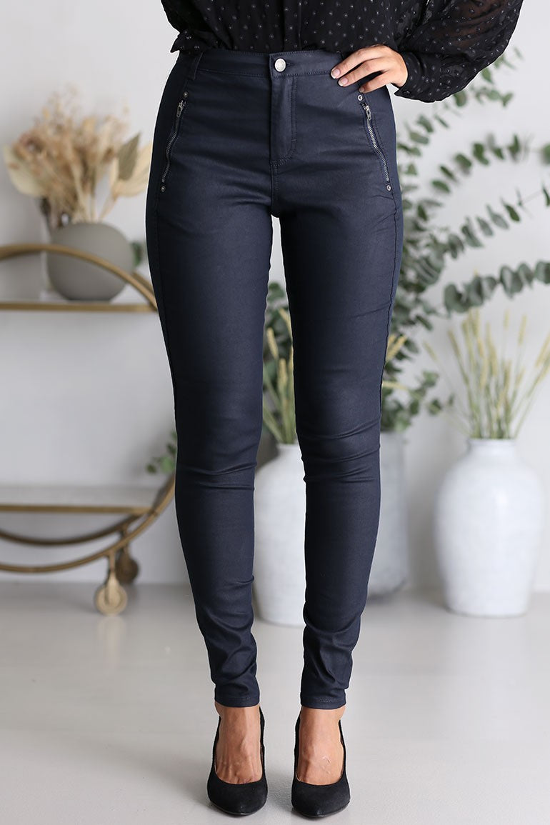 FIVE UNITS - Jolie 374 Navy Coated Jeans