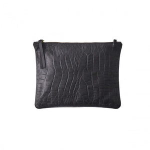 VASH -Jem Black Croc Leather Clutch