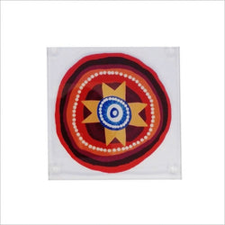 QPS Indigenous Glass Coaster Set - Queensland Police Health & Recreation Association