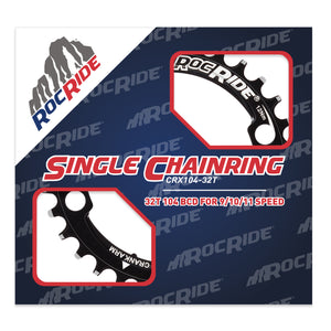 RocRide Narrow Wide Chainring 104 BCD for 9/10/11 Speed, 32T Black