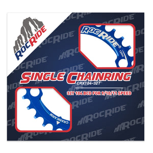 RocRide Narrow Wide Chainring 104 BCD for 9/10/11 Speed, 32T Blue