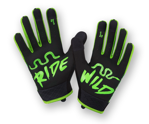 RocRide Animalz Green Viper Full Finger Cycling Gloves, MTB, Road Biking and BMX