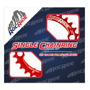 RocRide Narrow Wide Chainring 104 BCD for 9/10/11 Speed, 32T Red