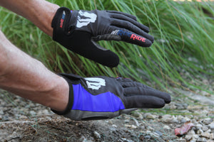 RocRide Evolution Red Blue Full Finger Cycling Gloves, MTB, Road Biking and BMX Gel Padded Protection