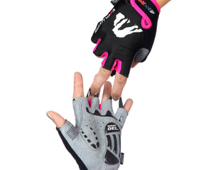 RocRide Evolution Blue Red Pink Half Finger Cycling Gloves, MTB, Road Biking and BMX