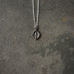 Sterling Silver Tiny Virgin Mary Necklace