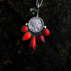 Five Tribes Buffalo Nickel Necklace in Red Rosarita