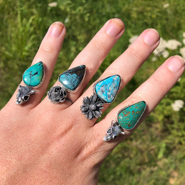 Sunflower + Turquoise Ring // Finished to Order