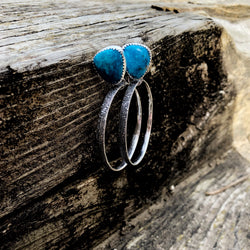 Compass Mine Turquoise Tooled Hoop Earrings