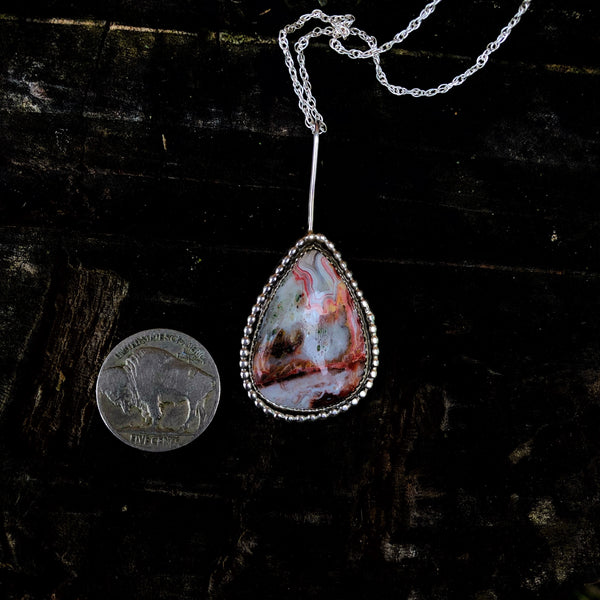 Red Lace Agate Teardrop Necklace