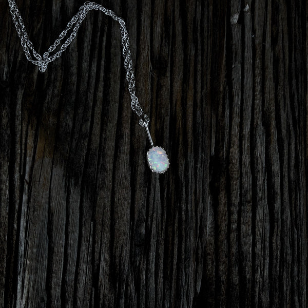 'Durango' // Dainty White Opal Necklace