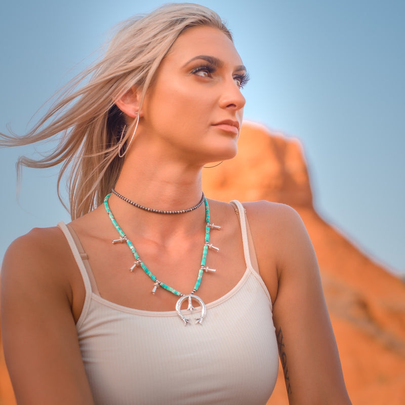Perry // American Turquoise Squash Blossom Necklace