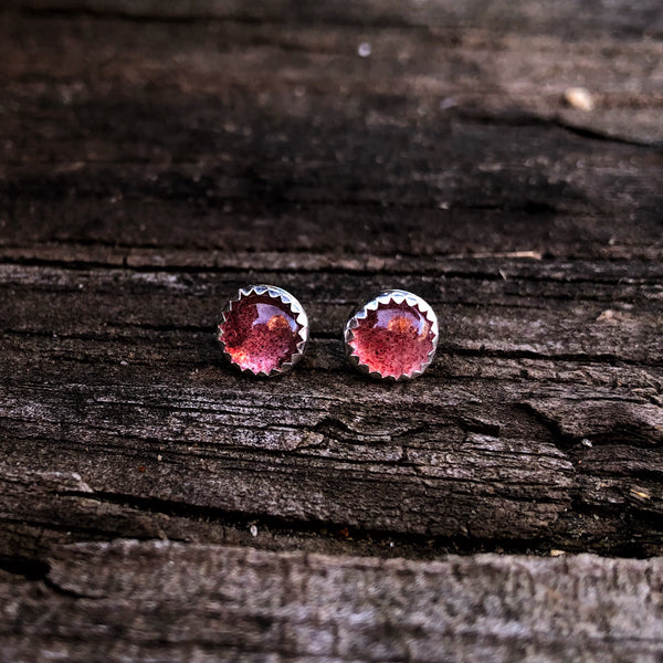 Small Strawberry Quartz Studs
