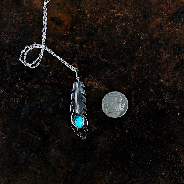 Kingman Turquoise Eagle Feather Necklace