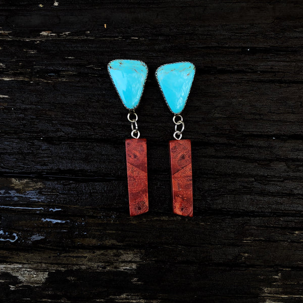 Kingman Turquoise + Spiny Oyster Earrings