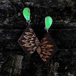 'Magdalena' //  Gaspeite + Leather Earrings