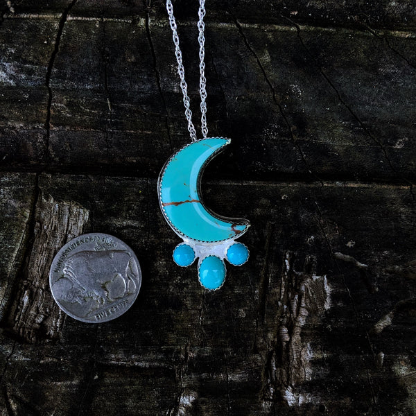'Bad Moon Rising' Turquoise Moon Necklace