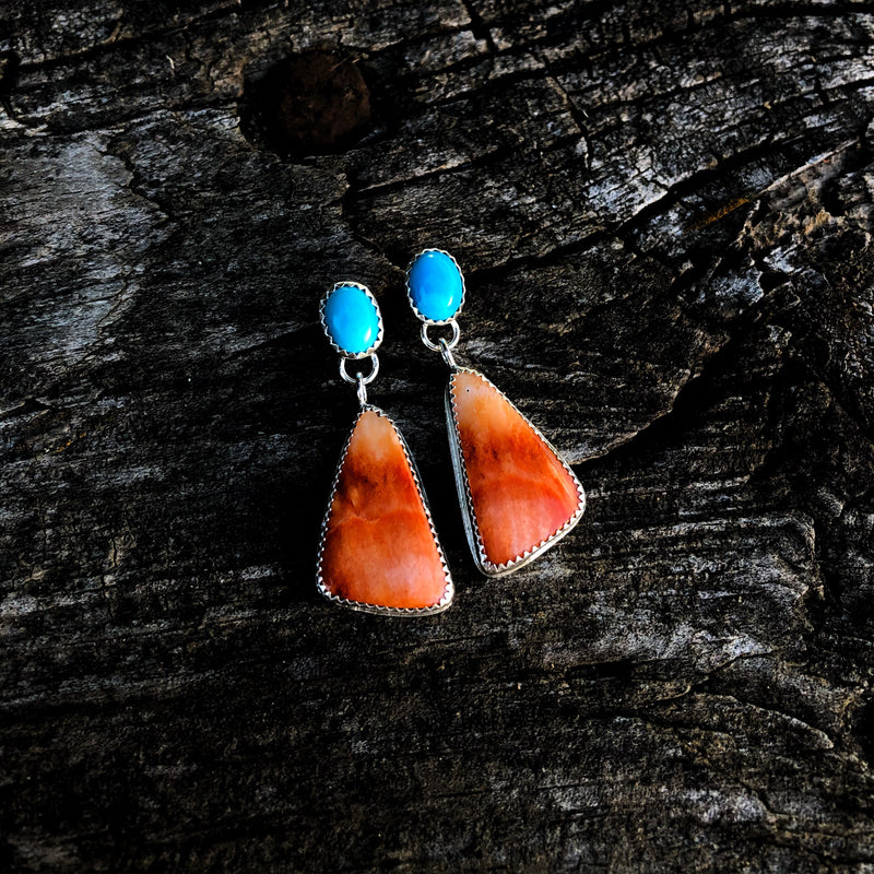Mexican Spiny Oyster + Turquoise Drop Studs