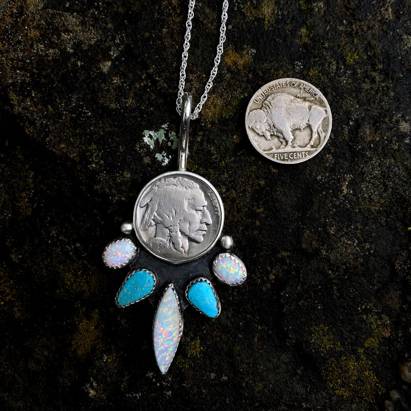 Five Tribes Buffalo Nickel Necklace in White simulated Opal + Kingman Turquoise