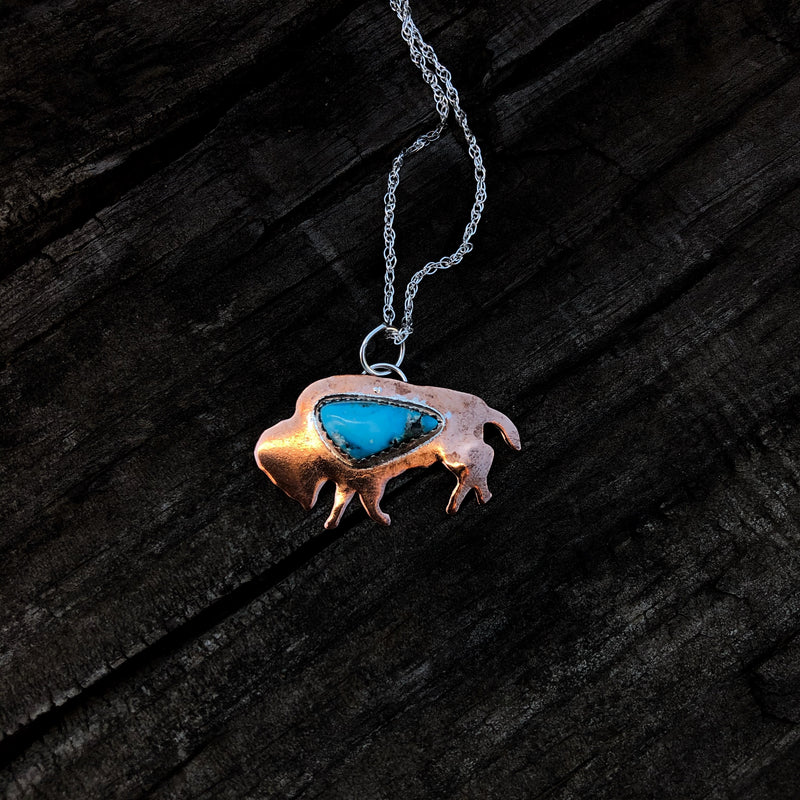 Copper Buffalo Babe with Kingman Turquoise