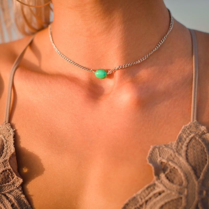Carmen // Green Mojave Turquoise Nugget Necklace