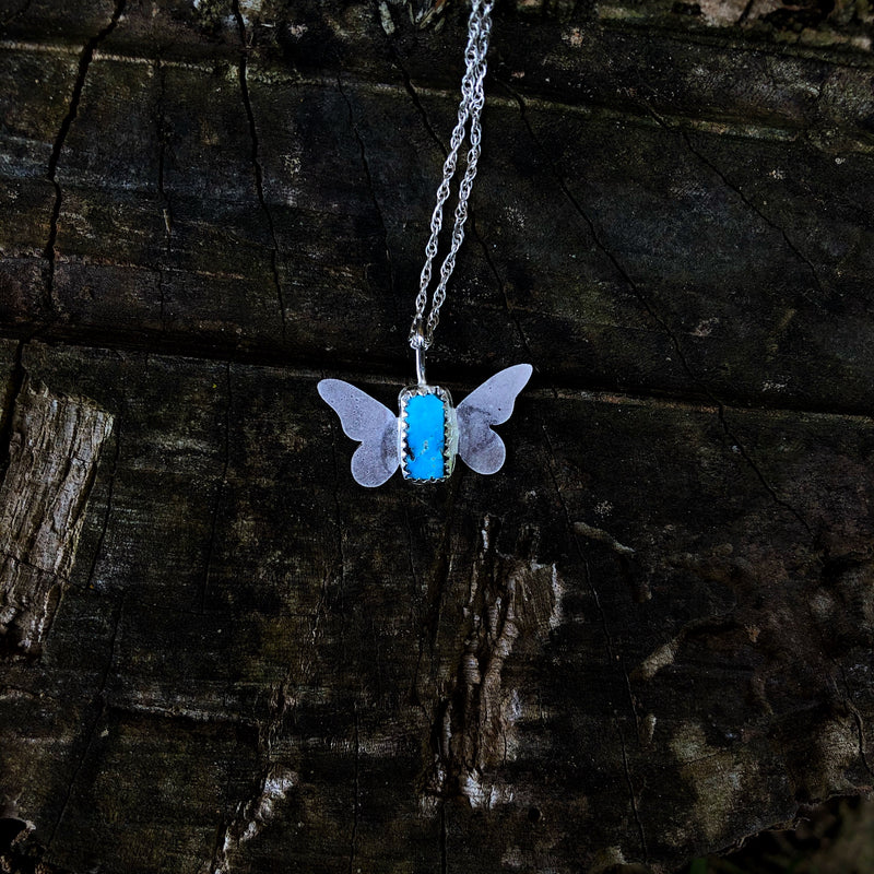 Kingman Turquoise Butterfly Necklace