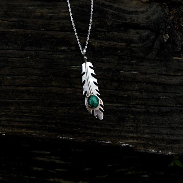 American Turquoise Eagle Feather Necklace