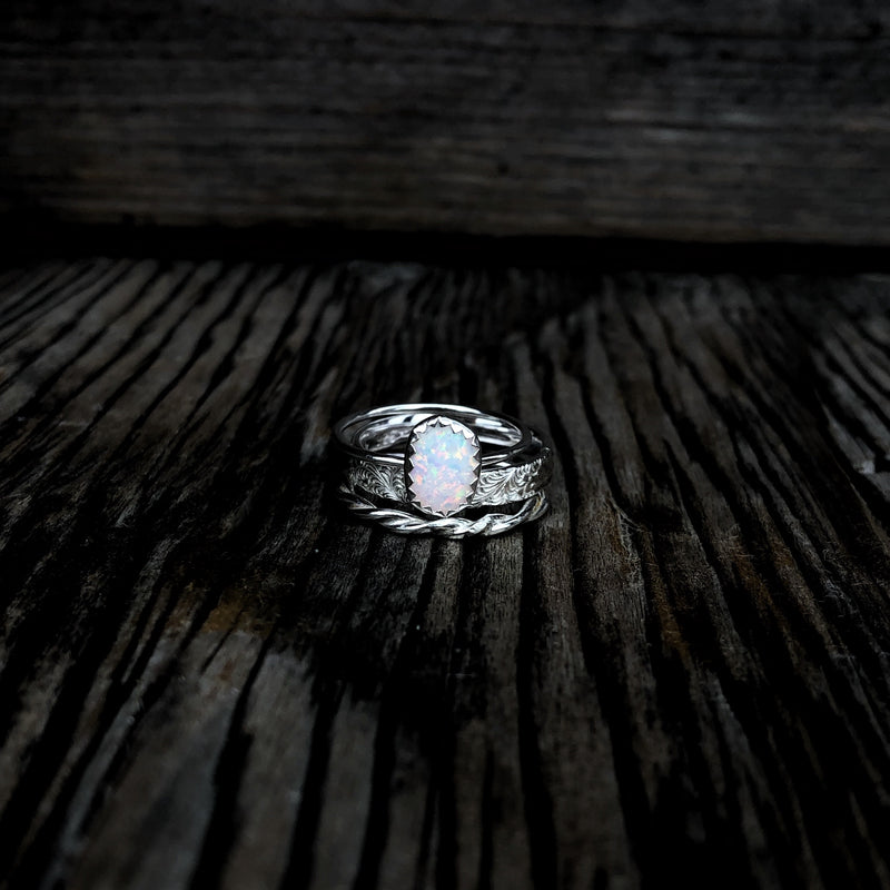 White Opal Stacking Ring Set // Made to Order