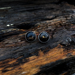 Black Copper Obsidian Studs