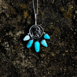 Five Tribes Buffalo Nickel Necklace in American Turquoise
