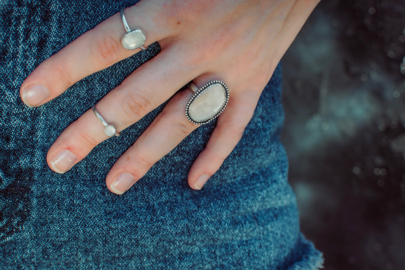 Faceted Moonstone Ring // Size 10