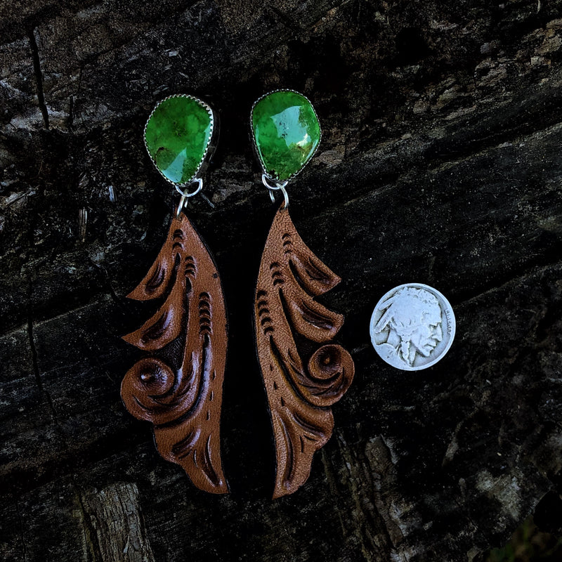 'Comanche Moon' //  Gaspeite + Leather Earrings