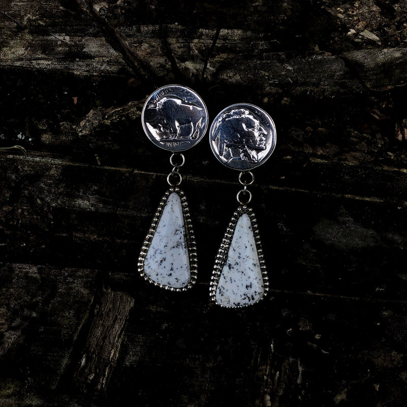 White Buffalo Heritage Drop Earrings
