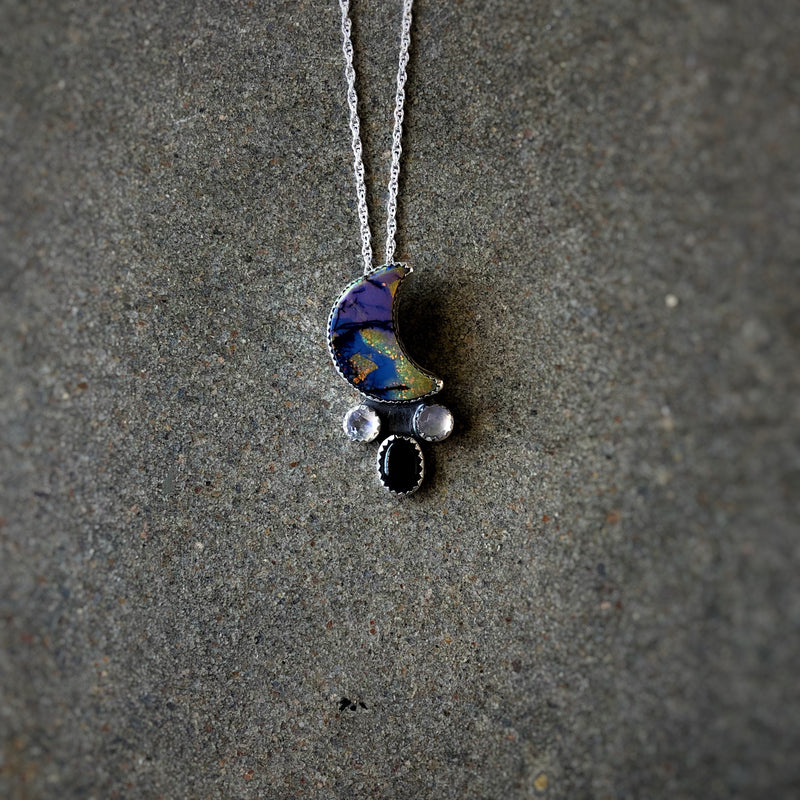 'Bad Moon Rising' Cosmic Opal + Moonstone & Onyx Necklace