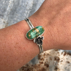 Royston Turquoise + Succulent Stacking Cuff // Sm-M
