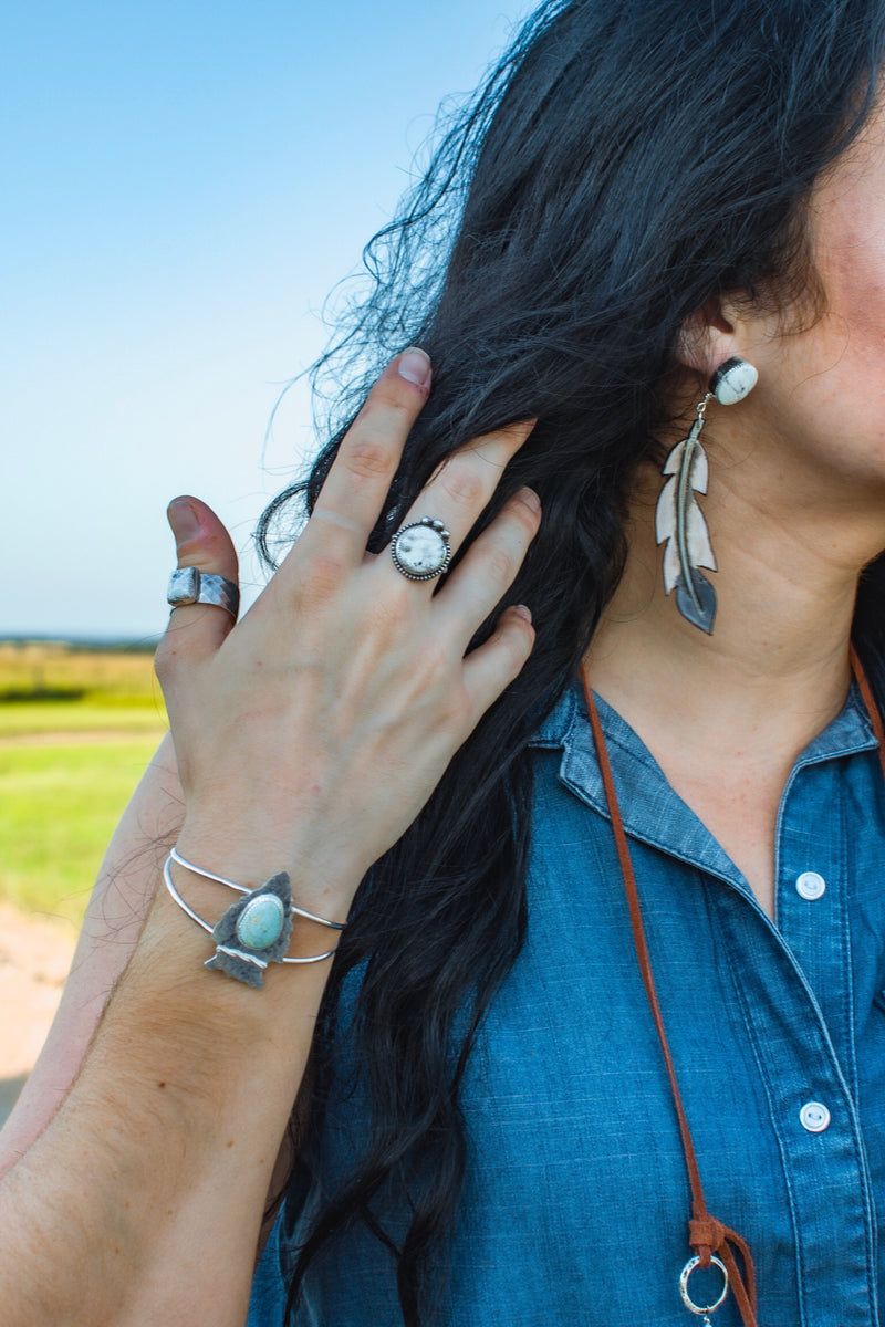 Lookout Mountain // White Buffalo + Leather Feather Earrings