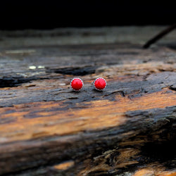 Red Coral Tiny Studs