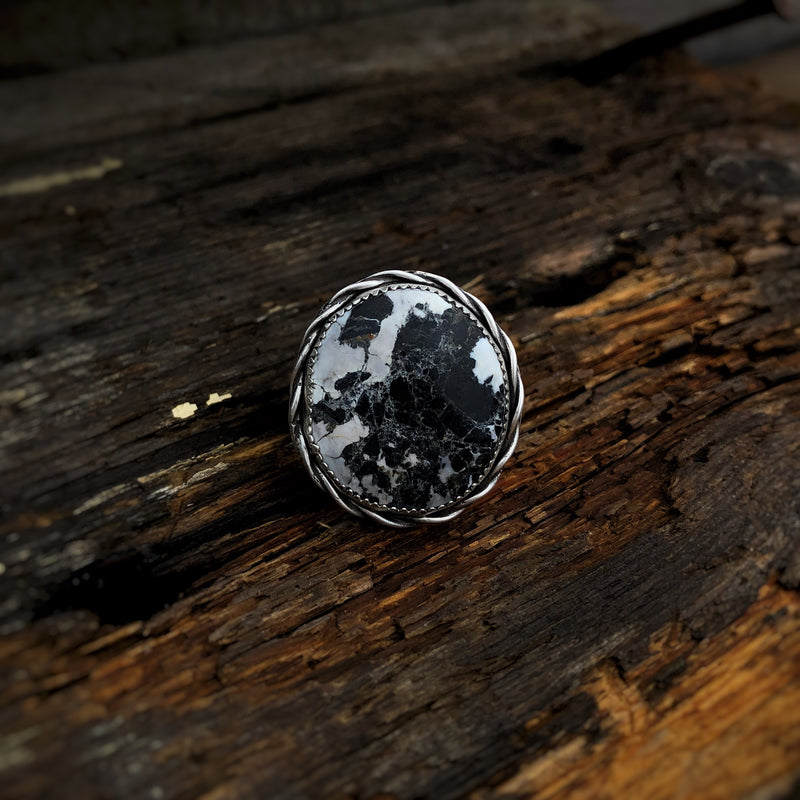 Braided White Buffalo Ring // Size 10