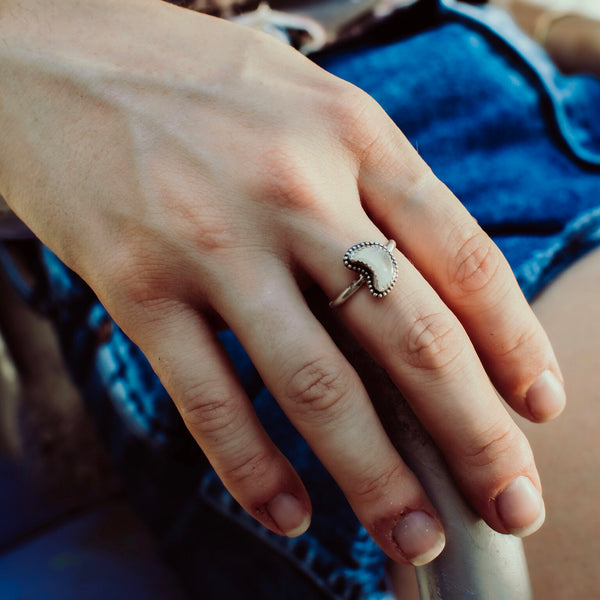 Cosmic Moonstone Moon Ring // Made to Order