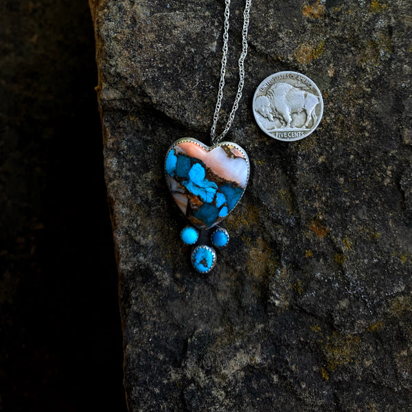 American Turquoise + Spiny Oyster Bad Heart Necklace