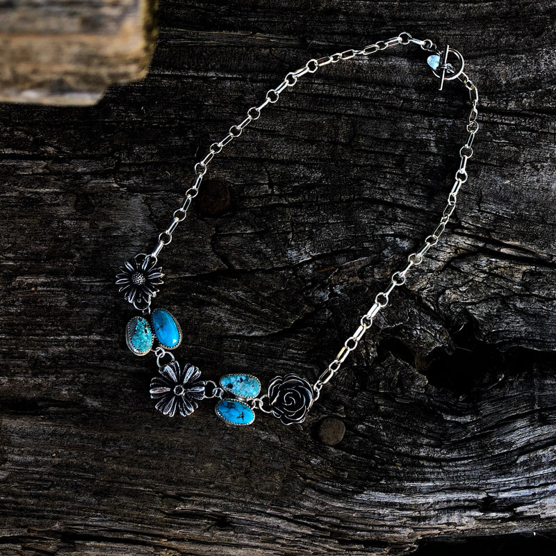 American Turquoise + Cast Flower Necklace