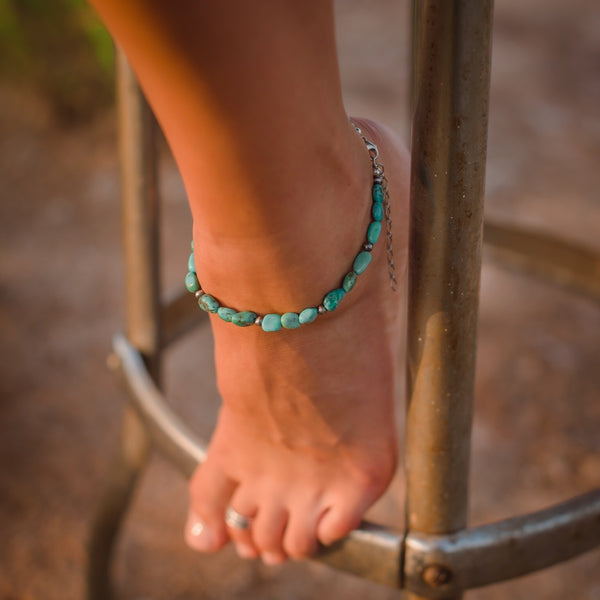 Turquoise + Navajo Pearl Beaded Anklet