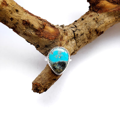 Kingman Turquoise + Sterling Ring // Size 5.5