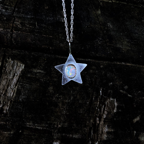 White Opal Star Necklace